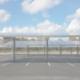 Überdachter Parkplatz mit PV-Anlagen